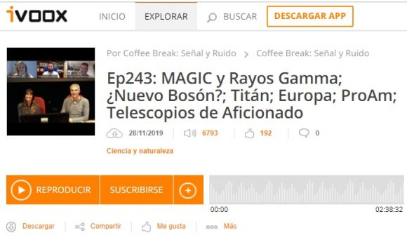 Podcast CB SyR 243: GRBs y MAGIC, bosón X17, Titán, Europa, ProAm, y telescopios