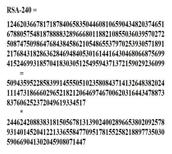 Se logra factorizar el semiprimo RSA-240 de 795 bits