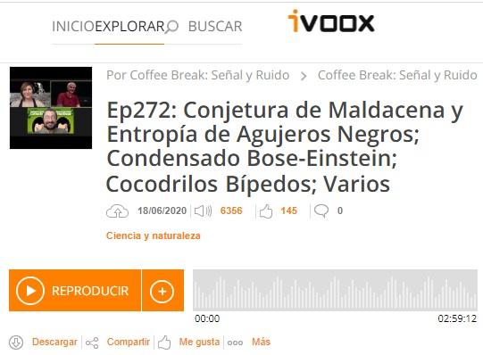Podcast CB SyR 272: Conjetura de Maldacena, condensados de Bose-Einstein y otras noticias de ciencia