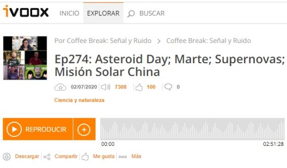 Podcast CB SyR 274: Día del asteroide; Marte; supernovas; misión solar China