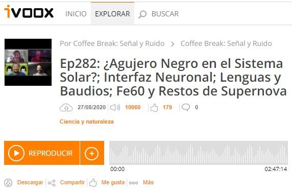 Podcast CB SyR 282: Agujeros negros en el Sistema Solar, nanoelectrodos, hierro-60 y supernovas, y mucho más