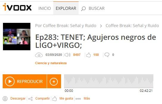 Podcast CB SyR 283: La fusión de agujeros negros GW190521 y la película Tenet (2020) de Nolan