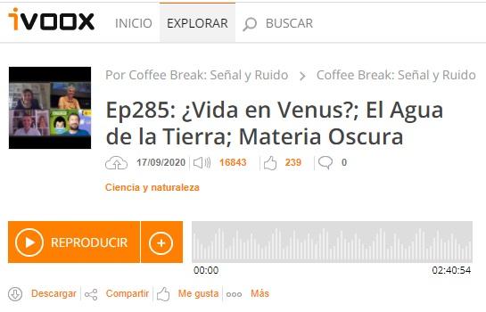 Podcast CB SyR 285: Fosfano en Venus, agua en la Tierra, materia oscura y otras noticias