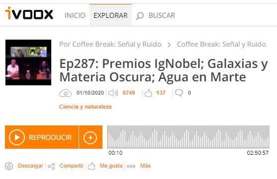 Podcast CB SyR 287: Premios Ig Nobel, galaxias ultradifusas y materia oscura, y más agua en Marte