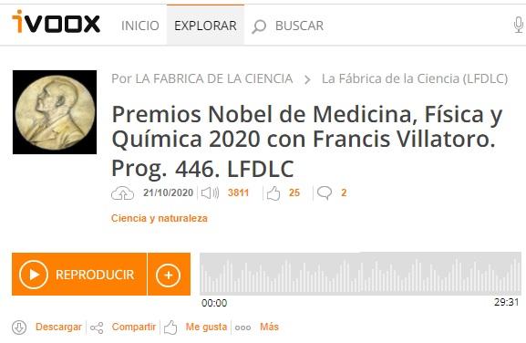 Francis en LFDLC: Premios Nobel de Medicina, Física y Química 2020 (programa 446)