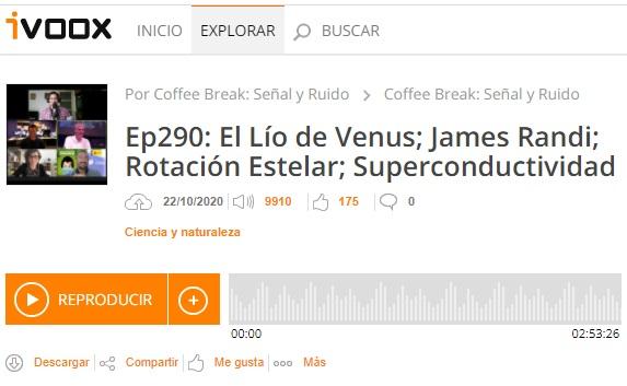 Podcast CB SyR 290: Más sobre el fosfano en Venus, rotación estelar, superconductividad y mucho más