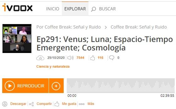 Podcast CB SyR 291: Venus, Luna, espaciotiempo emergente y cosmología