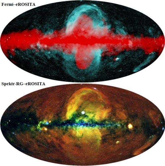 El telescopio espacial eROSITA de rayos X observa dos enormes burbujas transversales al plano de la Vía Láctea