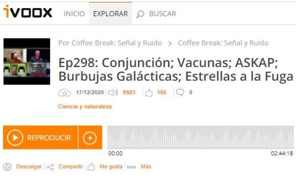 Podcast CB SyR 298: Conjunción planetaria, vacunas, ASKAP, burbujas galácticas y estrellas a la fuga
