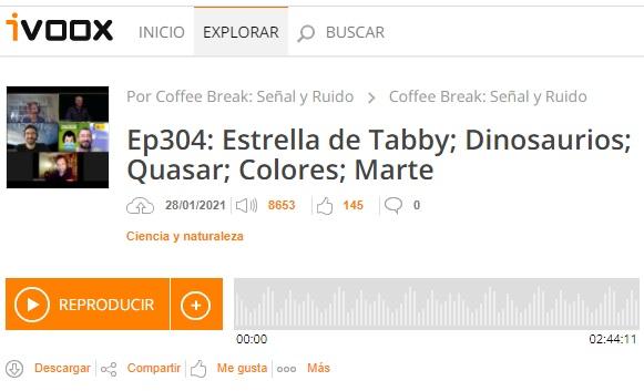Podcast CB SyR 304: Estrella de Tabby, colores de las estrellas, el cuásar más lejano y otras noticias