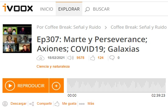 Podcast CB SyR 307: Marte y Perseverance; Axiones; COVID-19; Galaxias