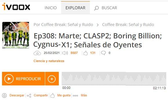 Podcast CB SyR 308: Marte, CLASP2, el «millardo aburrido» y Cygnus-X1