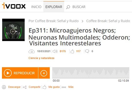 Podcast CB SyR 311: Microagujeros negros, neuronas CLIP multimodales, el odderon y los asteroides interestelares