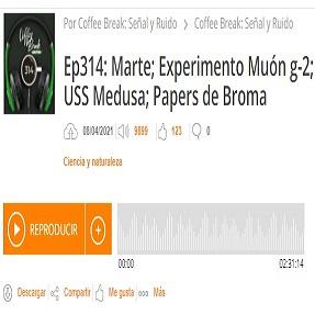 Podcast CB SyR 314: Marte, el experimento Muon g−2, USS Jellyfish y las bromas del uno de abril