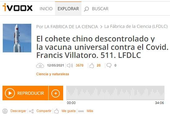 Francis en LFDLC: Hacia una vacuna universal contra el COVID y el «cohete chino» descontrolado (programa 511)