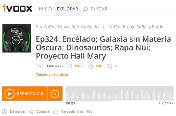 Podcast CB SyR 324: Encelado; Galaxia sin Materia Oscura; Dinosaurios; Rapa Nui; Proyecto Hail Mary