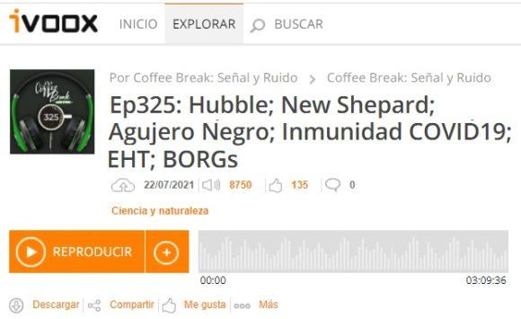 Podcast CB SyR 325: teorema del área de agujeros negros, inmunidad COVID-19, chorros ultrarrelativistas, BORGs y más noticias