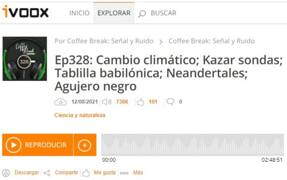 "Podcast CB SyR 328: Cambio climático, ""kazar"" sondas, tablilla Plimpton 322, arte neandertal y agujero negros"