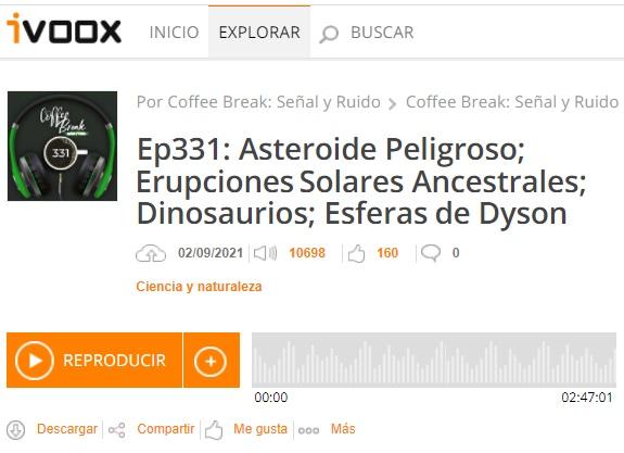 Podcast CB SyR 331: Bennu, erupciones solares, pterosaurios, esferas de Dyson en agujeros negros y más noticias
